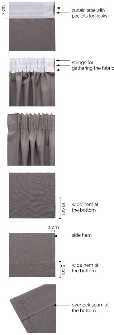 Pencil pleat curtains details