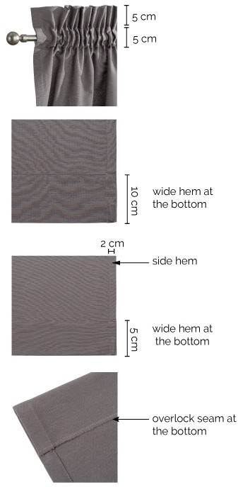 Slot and frill curtains details